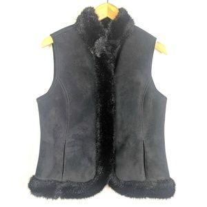 Ann Taylor Fashion Vest Womens S Black Faux Fur
